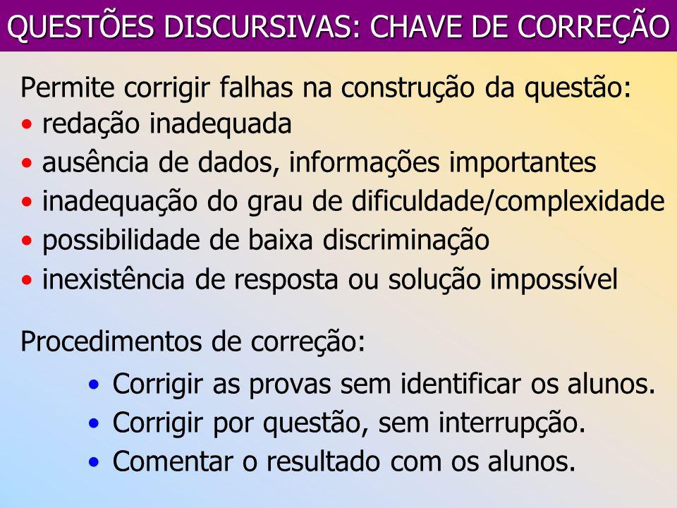 QUESTÕES DISCURSIVAS: CHAVE DE CORREÇÃO Permite corrigir falhas na construção da questão: redação inadequada ausência de dados, informações importante