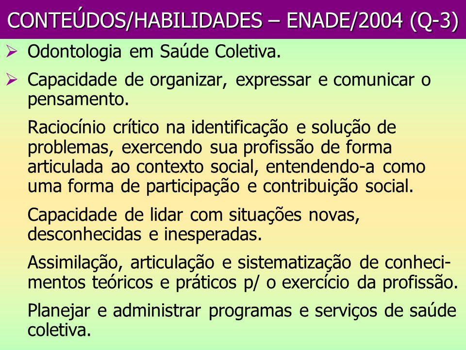 CONTEÚDOS/HABILIDADES – ENADE/2004 (Q-3) Odontologia em Saúde Coletiva. Capacidade de organizar, expressar e comunicar o pensamento. Raciocínio crític