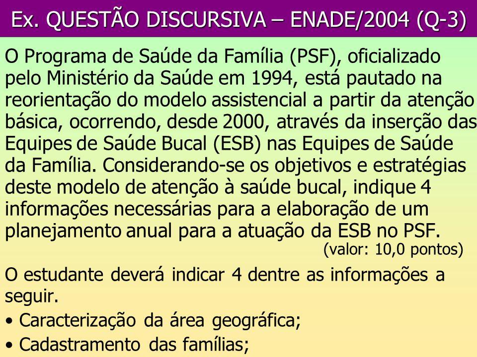 Ex. QUESTÃO DISCURSIVA – ENADE/2004 (Q-3) O Programa de Saúde da Família (PSF), oficializado pelo Ministério da Saúde em 1994, está pautado na reorien