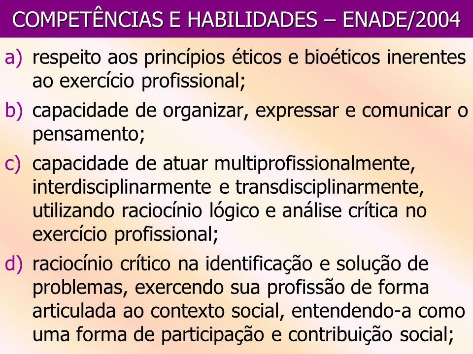 COMPETÊNCIAS E HABILIDADES – ENADE/2004 a)respeito aos princípios éticos e bioéticos inerentes ao exercício profissional; b)capacidade de organizar, e