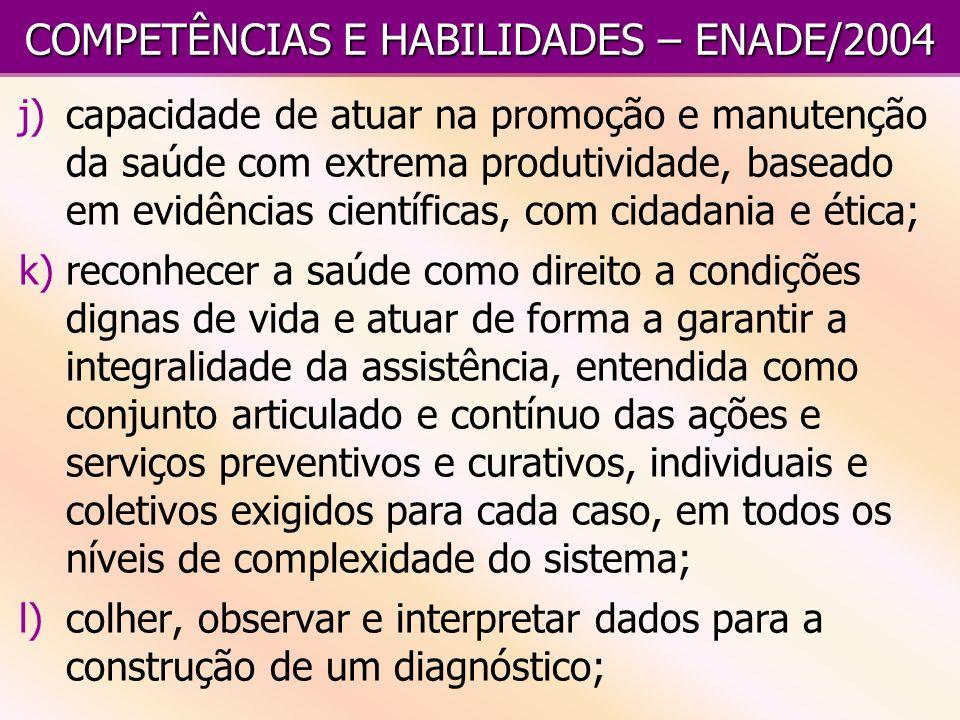 COMPETÊNCIAS E HABILIDADES – ENADE/2004 j)capacidade de atuar na promoção e manutenção da saúde com extrema produtividade, baseado em evidências cient