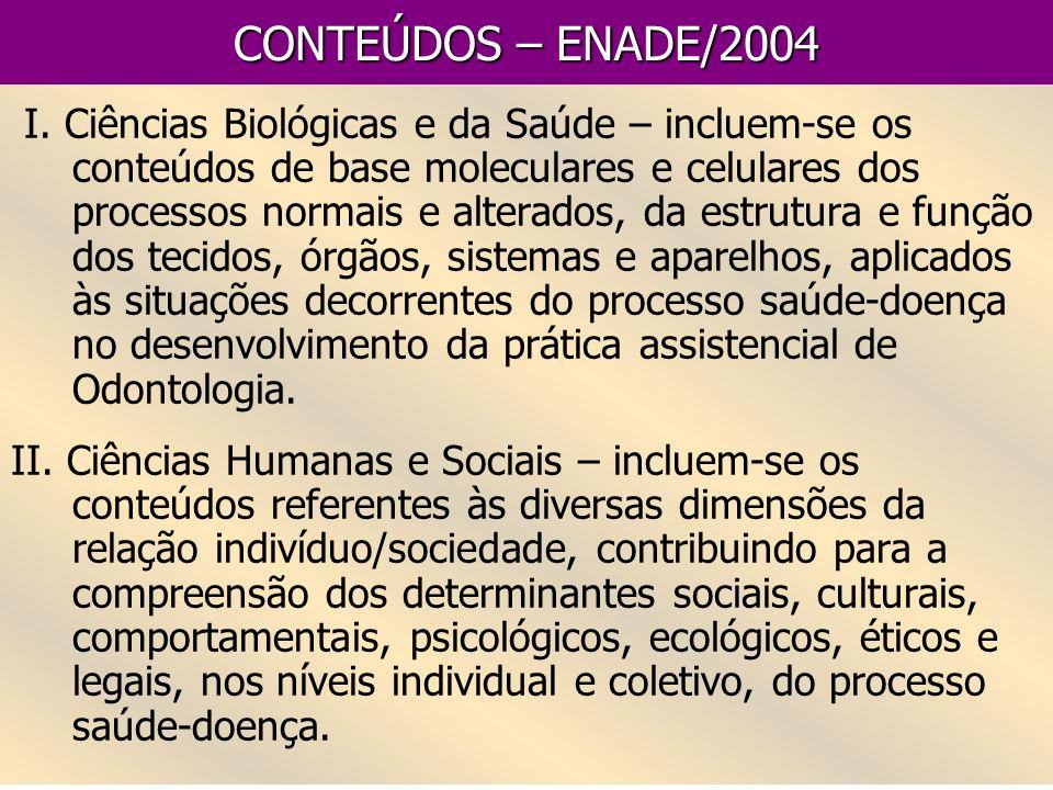 CONTEÚDOS – ENADE/2004 I. Ciências Biológicas e da Saúde – incluem-se os conteúdos de base moleculares e celulares dos processos normais e alterados,