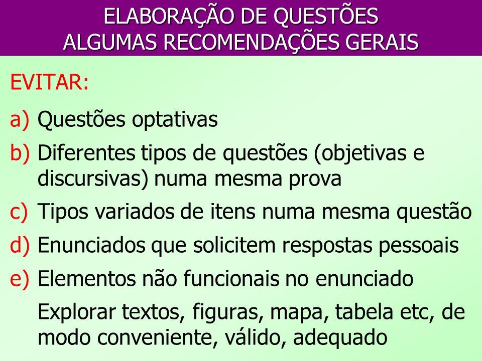 ELABORAÇÃO DE QUESTÕES ALGUMAS RECOMENDAÇÕES GERAIS EVITAR: a)Questões optativas b)Diferentes tipos de questões (objetivas e discursivas) numa mesma p