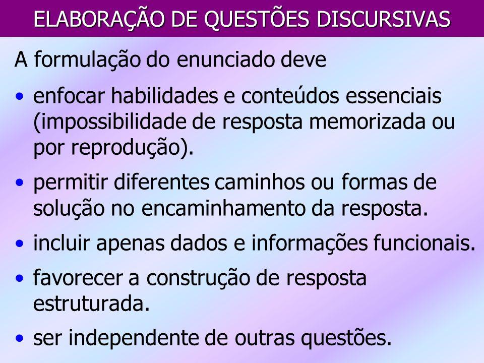 ELABORAÇÃO DE QUESTÕES DISCURSIVAS A formulação do enunciado deve enfocar habilidades e conteúdos essenciais (impossibilidade de resposta memorizada o