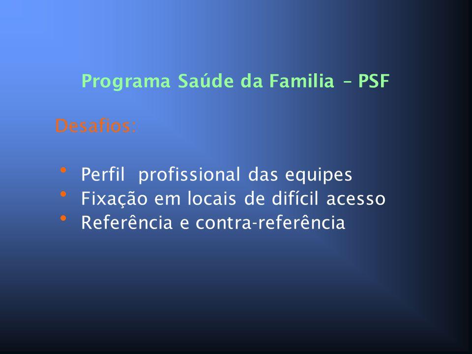 Programa Saúde da Familia – PSF Desafios: Perfil profissional das equipes Fixação em locais de difícil acesso Referência e contra-referência