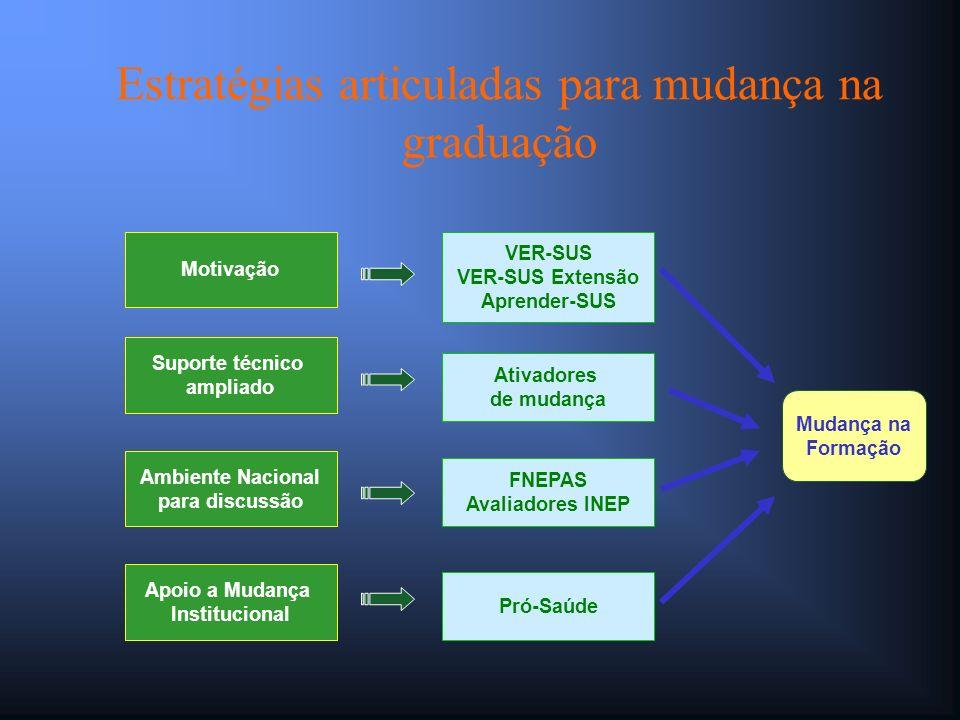 Estratégias articuladas para mudança na graduação Motivação Suporte técnico ampliado Ambiente Nacional para discussão Apoio a Mudança Institucional VE