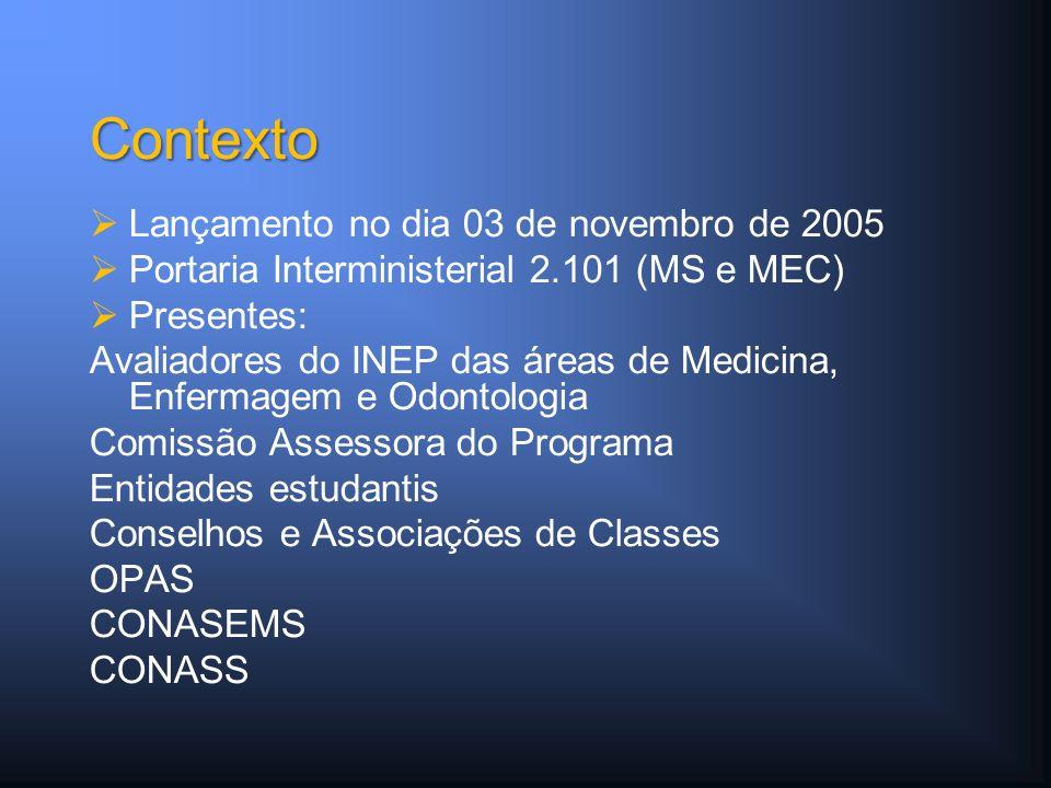 Lançamento no dia 03 de novembro de 2005 Portaria Interministerial 2.101 (MS e MEC) Presentes: Avaliadores do INEP das áreas de Medicina, Enfermagem e Odontologia Comissão Assessora do Programa Entidades estudantis Conselhos e Associações de Classes OPAS CONASEMS CONASS Contexto
