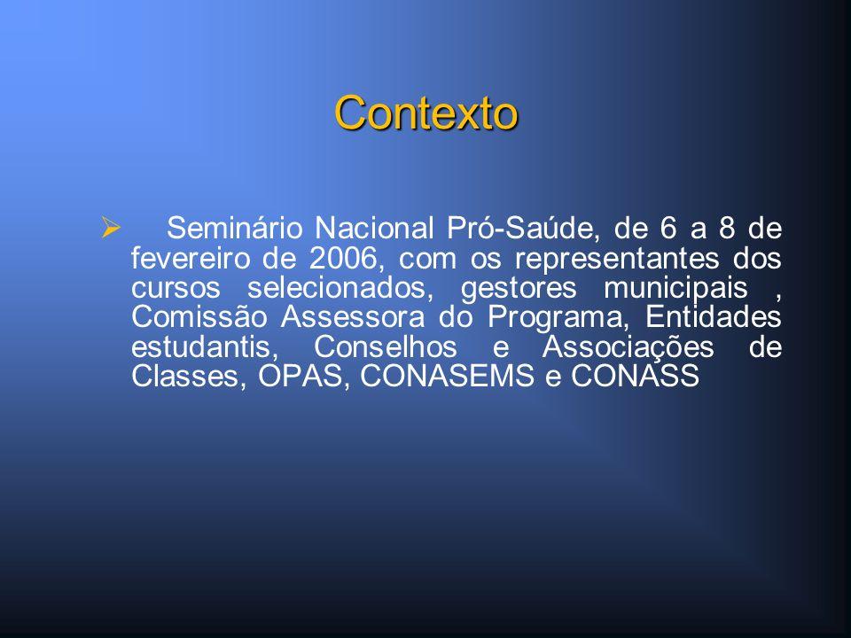 Seminário Nacional Pró-Saúde, de 6 a 8 de fevereiro de 2006, com os representantes dos cursos selecionados, gestores municipais, Comissão Assessora do Programa, Entidades estudantis, Conselhos e Associações de Classes, OPAS, CONASEMS e CONASS Contexto