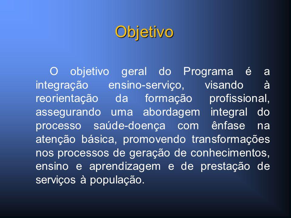 O objetivo geral do Programa é a integração ensino-serviço, visando à reorientação da formação profissional, assegurando uma abordagem integral do pro