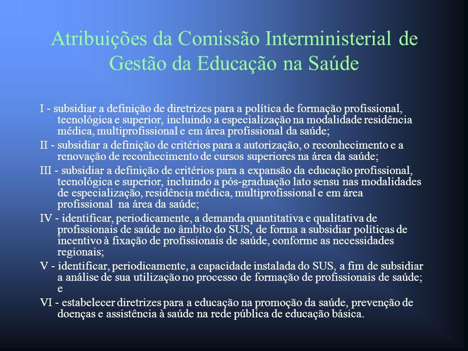 Atribuições da Comissão Interministerial de Gestão da Educação na Saúde I - subsidiar a definição de diretrizes para a política de formação profission