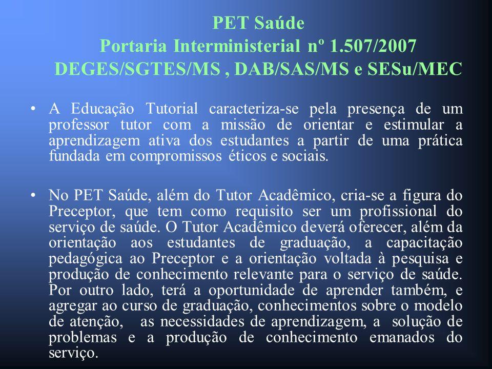 PET Saúde Portaria Interministerial nº 1.507/2007 DEGES/SGTES/MS, DAB/SAS/MS e SESu/MEC A Educação Tutorial caracteriza-se pela presença de um profess