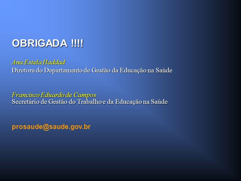 Francisco Eduardo de Campos OBRIGADA !!!! Secretário de Gestão do Trabalho e da Educação na Saúde Ana Estela Haddad Diretora do Departamento de Gestão