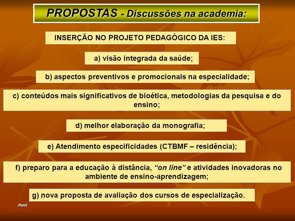 Perri g) nova proposta de avaliação dos cursos de especialização. PROPOSTAS - D DD Discussões na academia: a) visão integrada da saúde; b) aspectos pr