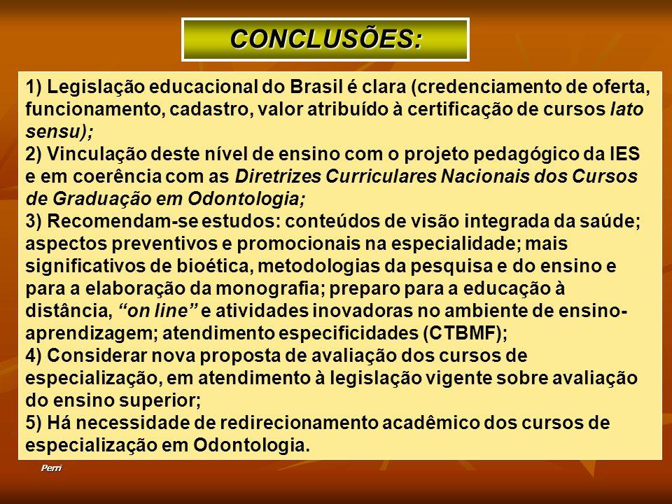 Perri 1) Legislação educacional do Brasil é clara (credenciamento de oferta, funcionamento, cadastro, valor atribuído à certificação de cursos lato se