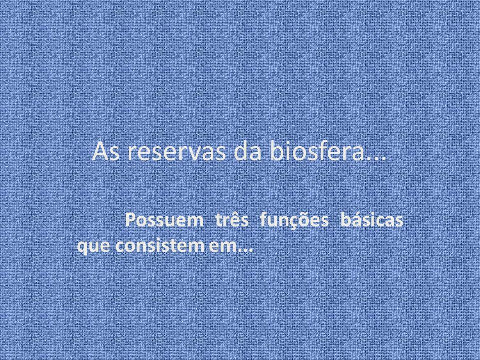 As reservas da biosfera... Possuem três funções básicas que consistem em...