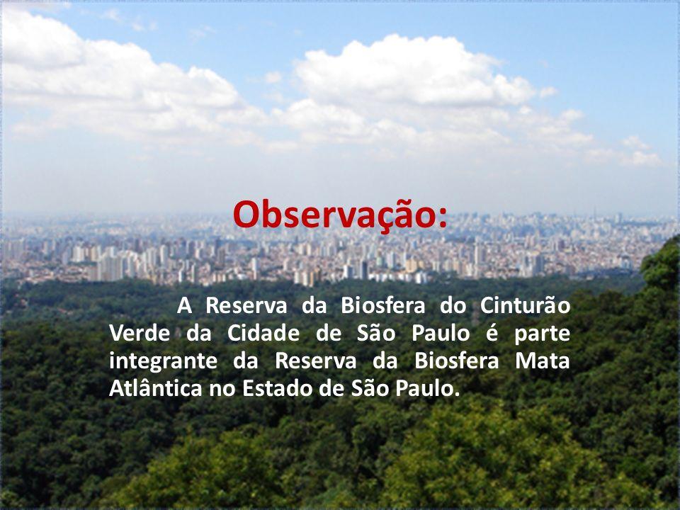 Observação: A Reserva da Biosfera do Cinturão Verde da Cidade de São Paulo é parte integrante da Reserva da Biosfera Mata Atlântica no Estado de São P