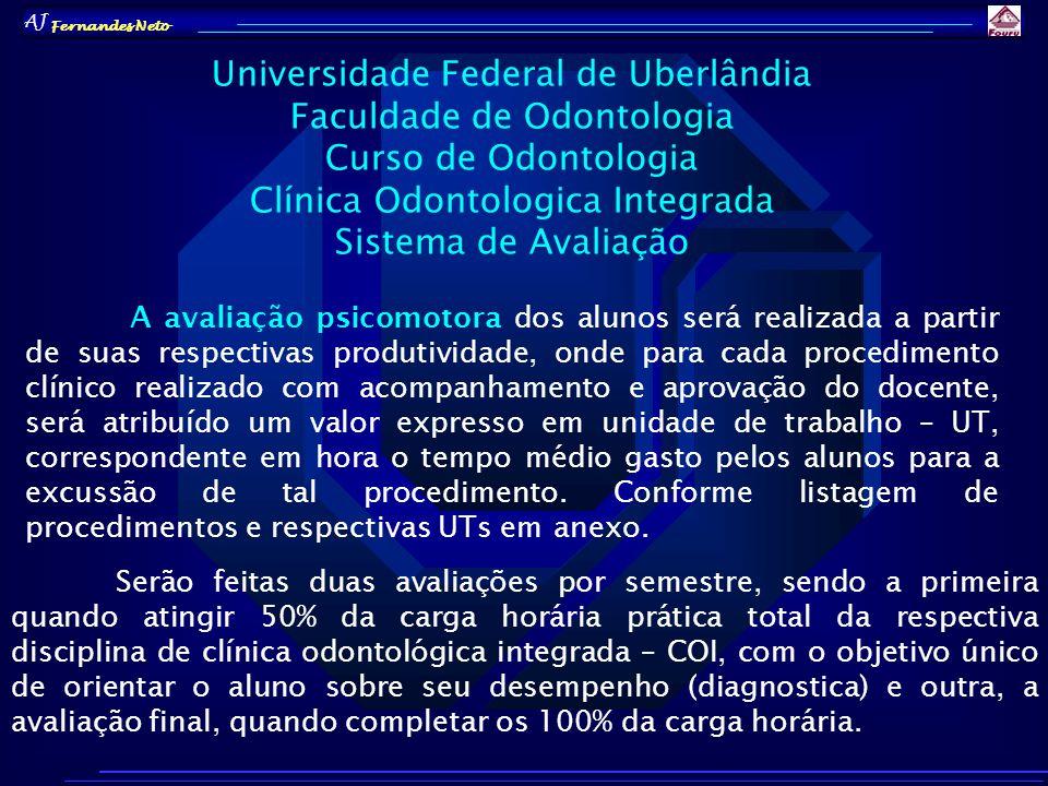 AJ Fernandes Neto A avaliação psicomotora dos alunos será realizada a partir de suas respectivas produtividade, onde para cada procedimento clínico re
