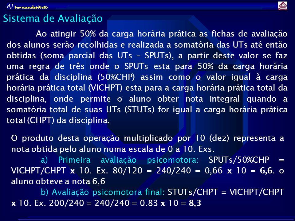 AJ Fernandes Neto Ao atingir 50% da carga horária prática as fichas de avaliação dos alunos serão recolhidas e realizada a somatória das UTs até então