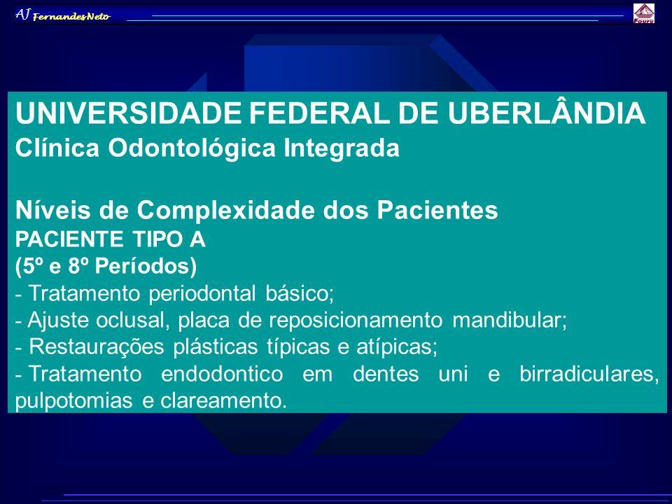 AJ Fernandes Neto UNIVERSIDADE FEDERAL DE UBERLÂNDIA Clínica Odontológica Integrada Níveis de Complexidade dos Pacientes PACIENTE TIPO A (5º e 8º Perí