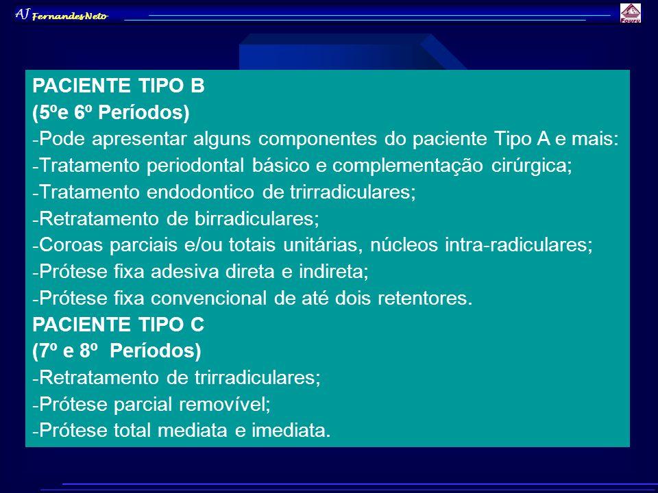AJ Fernandes Neto PACIENTE TIPO B (5ºe 6º Períodos) - Pode apresentar alguns componentes do paciente Tipo A e mais: - Tratamento periodontal básico e