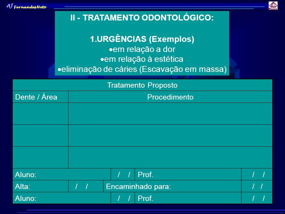 AJ Fernandes Neto II - TRATAMENTO ODONTOLÓGICO: 1.URGÊNCIAS (Exemplos) em relação a dor em relação à estética eliminação de cáries (Escavação em massa