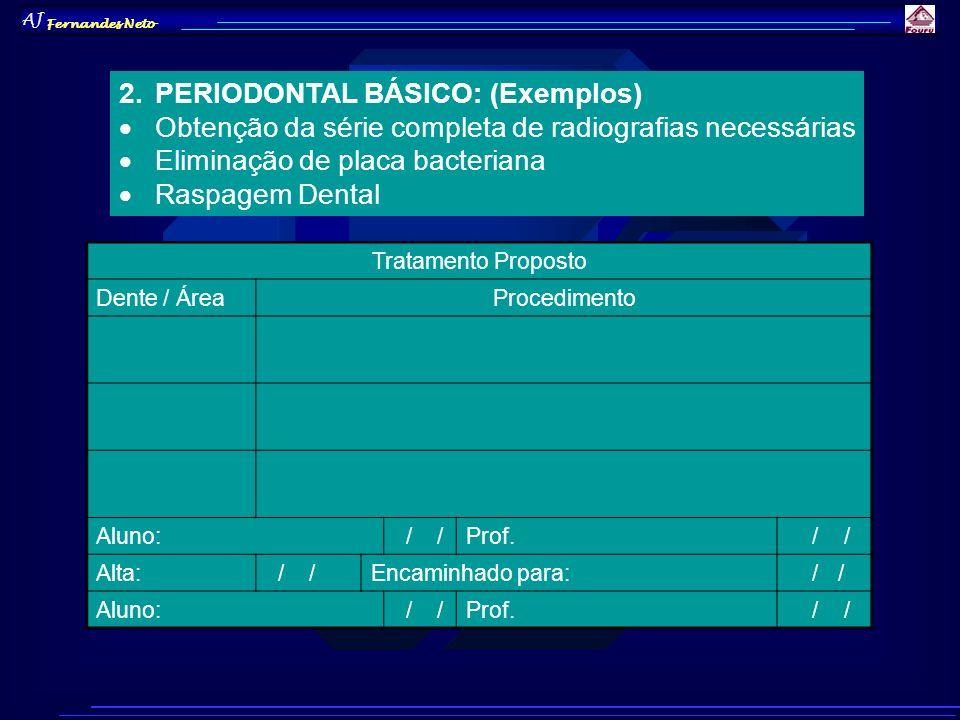AJ Fernandes Neto 2.PERIODONTAL BÁSICO: (Exemplos) Obtenção da série completa de radiografias necessárias Eliminação de placa bacteriana Raspagem Dent