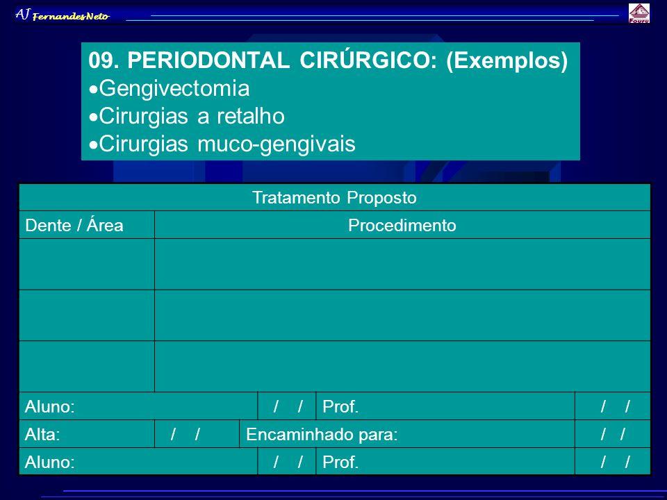 AJ Fernandes Neto 09. PERIODONTAL CIRÚRGICO: (Exemplos) Gengivectomia Cirurgias a retalho Cirurgias muco-gengivais Tratamento Proposto Dente / ÁreaPro