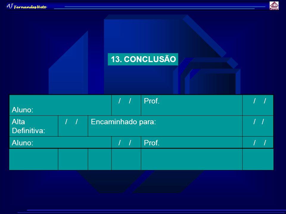AJ Fernandes Neto 13. CONCLUSÃO Aluno: / /Prof. / / Alta Definitiva: / /Encaminhado para: / / Aluno: / /Prof. / /