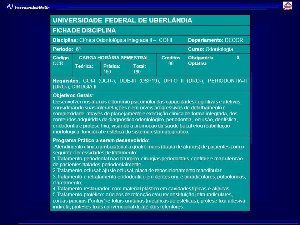 AJ Fernandes Neto UNIVERSIDADE FEDERAL DE UBERLÂNDIA FICHA DE DISCIPLINA Disciplina: Clínica Odontológica Integrada II – COI-IIDepartamento: DEOCR Per