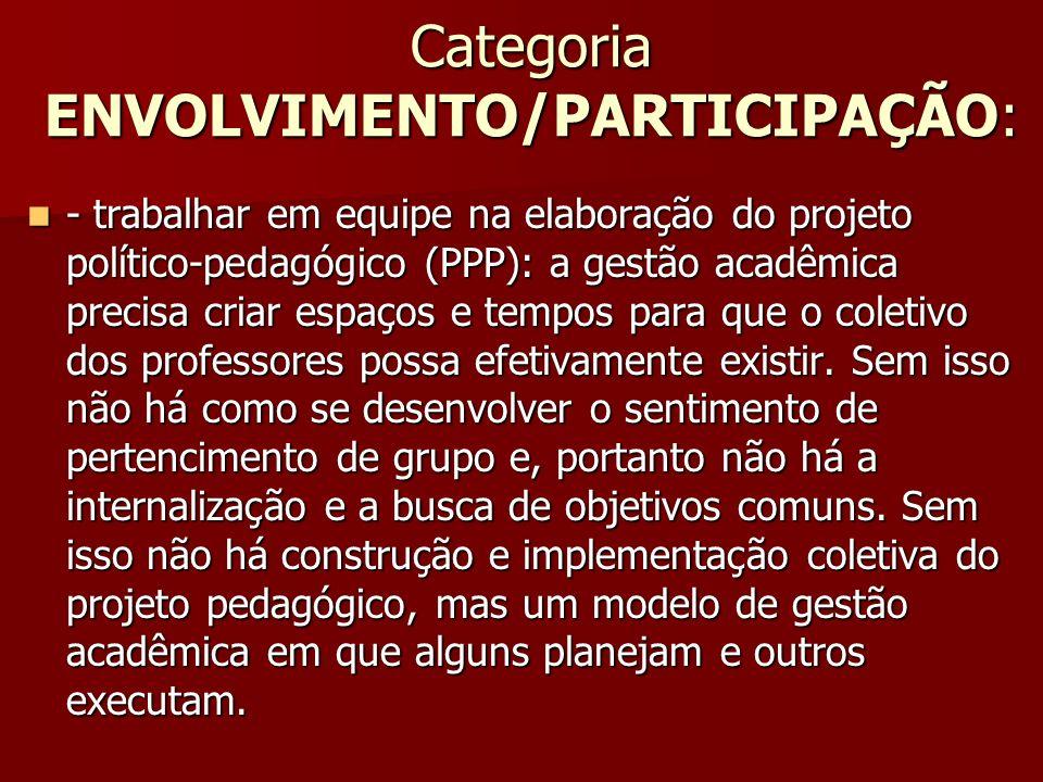 Categoria ENVOLVIMENTO/PARTICIPAÇÃO: - trabalhar em equipe na elaboração do projeto político-pedagógico (PPP): a gestão acadêmica precisa criar espaço
