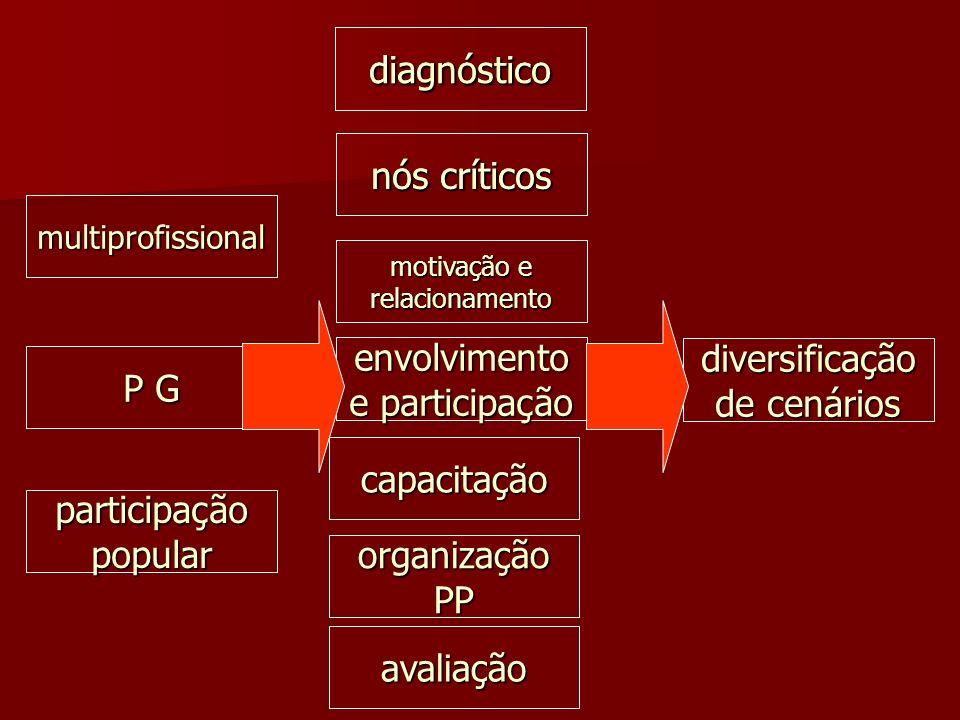 diagnóstico nós críticos motivação e relacionamento envolvimento e participação capacitação organização PP avaliação multiprofissional P G participaçã