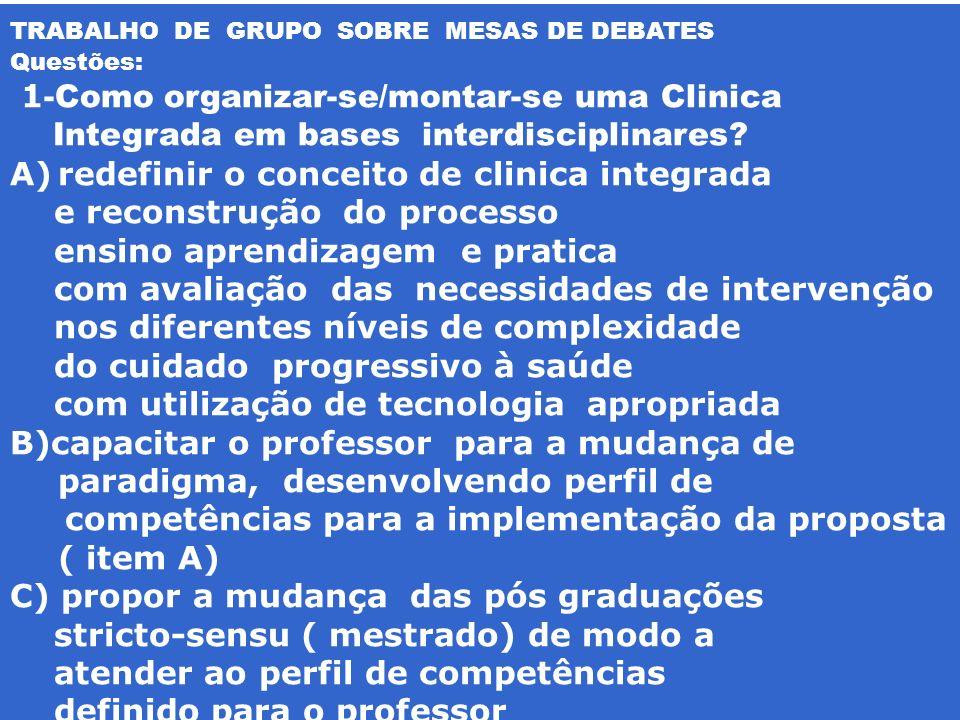 TRABALHO DE GRUPO SOBRE MESAS DE DEBATES Questões: 1 -Como organizar-se/montar-se uma Clinica Integrada em bases interdisciplinares? A)redefinir o con