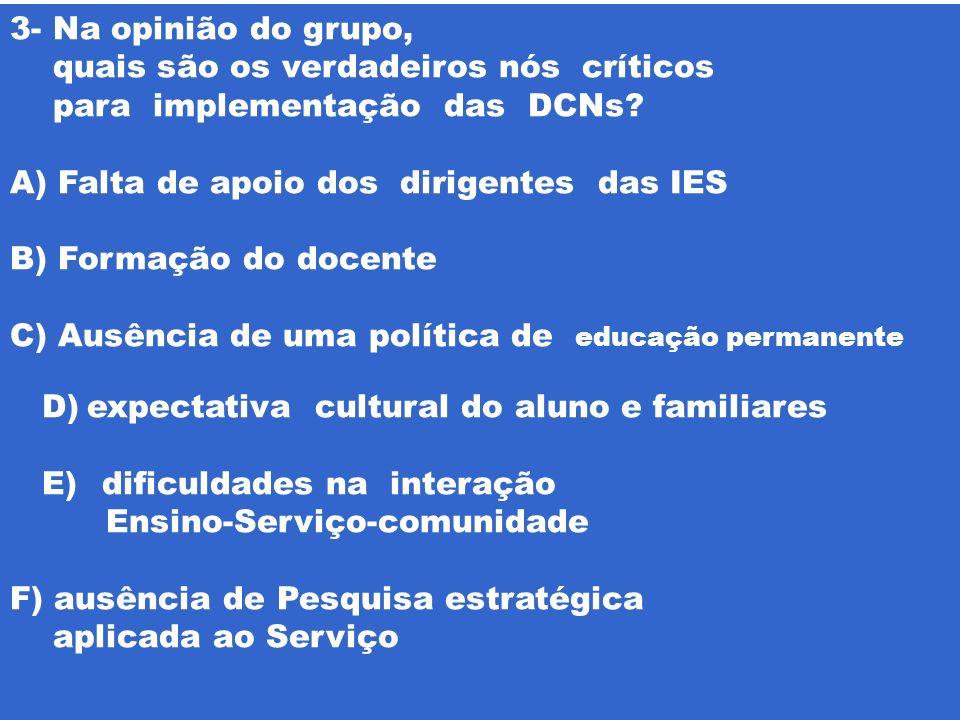 3- Na opinião do grupo, quais são os verdadeiros nós críticos para implementação das DCNs? A)Falta de apoio dos dirigentes das IES B) Formação do doce