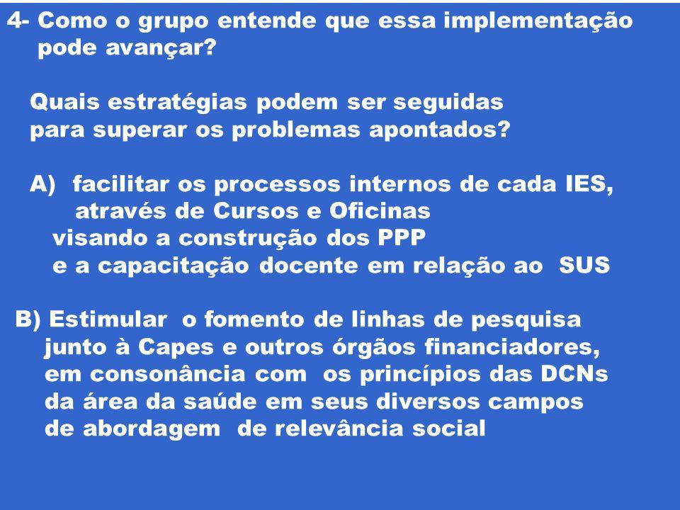 4- Como o grupo entende que essa implementação pode avançar? Quais estratégias podem ser seguidas para superar os problemas apontados? A) facilitar os