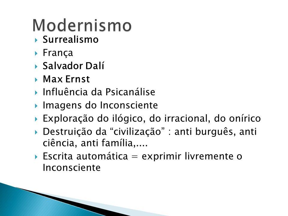 Surrealismo França Salvador Dalí Max Ernst Influência da Psicanálise Imagens do Inconsciente Exploração do ilógico, do irracional, do onírico Destruiç