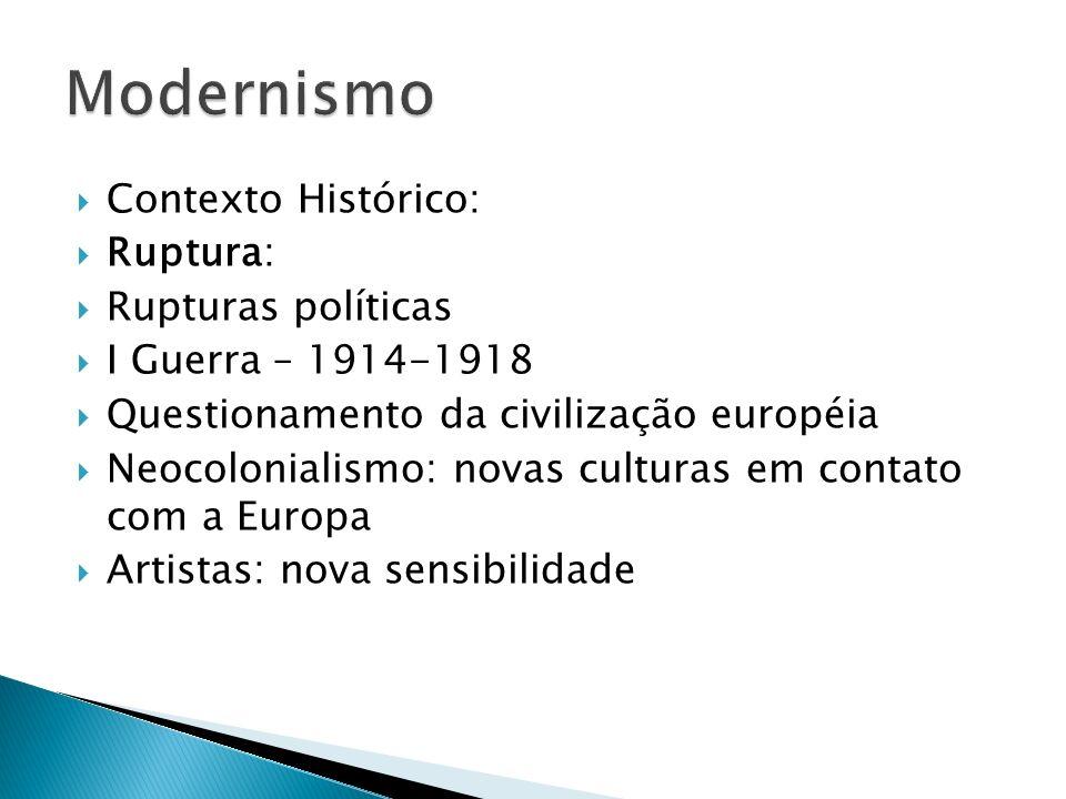 Contexto Histórico: Ruptura: Rupturas políticas I Guerra – 1914-1918 Questionamento da civilização européia Neocolonialismo: novas culturas em contato
