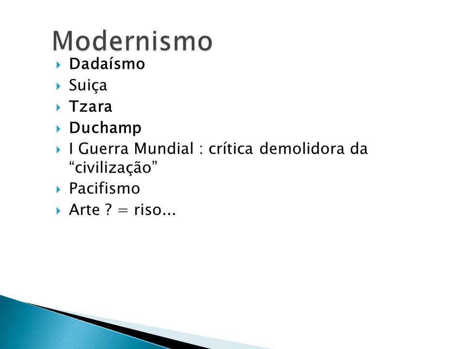 Dadaísmo Suiça Tzara Duchamp I Guerra Mundial : crítica demolidora da civilização Pacifismo Arte ? = riso...