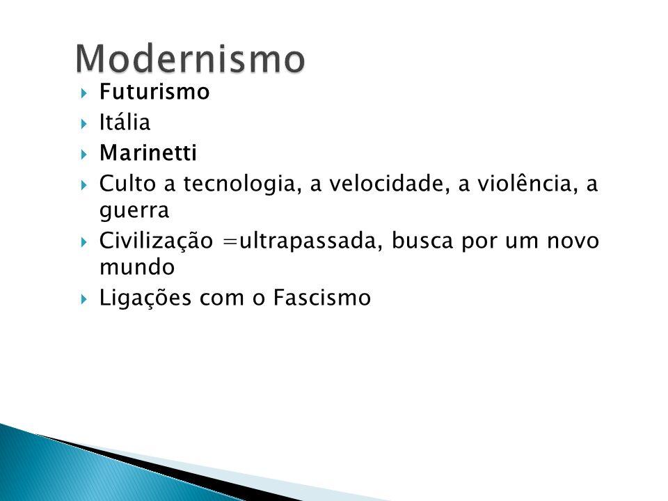 Futurismo Itália Marinetti Culto a tecnologia, a velocidade, a violência, a guerra Civilização =ultrapassada, busca por um novo mundo Ligações com o F
