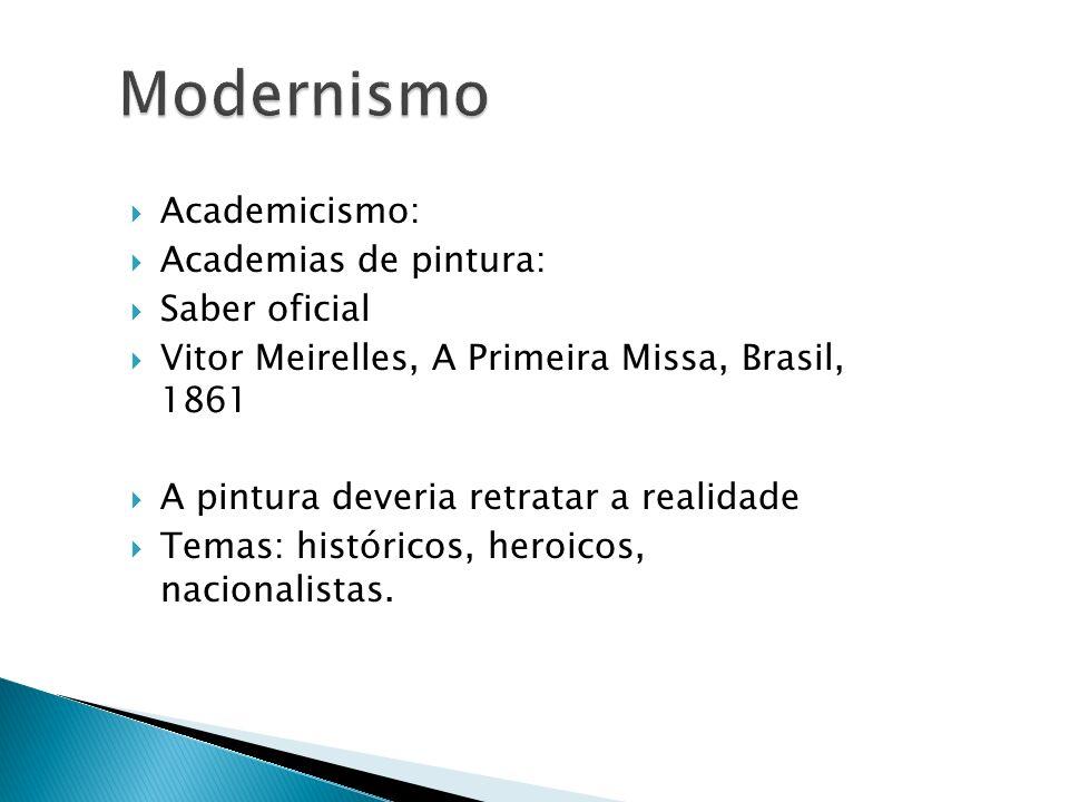 Academicismo: Academias de pintura: Saber oficial Vitor Meirelles, A Primeira Missa, Brasil, 1861 A pintura deveria retratar a realidade Temas: histór