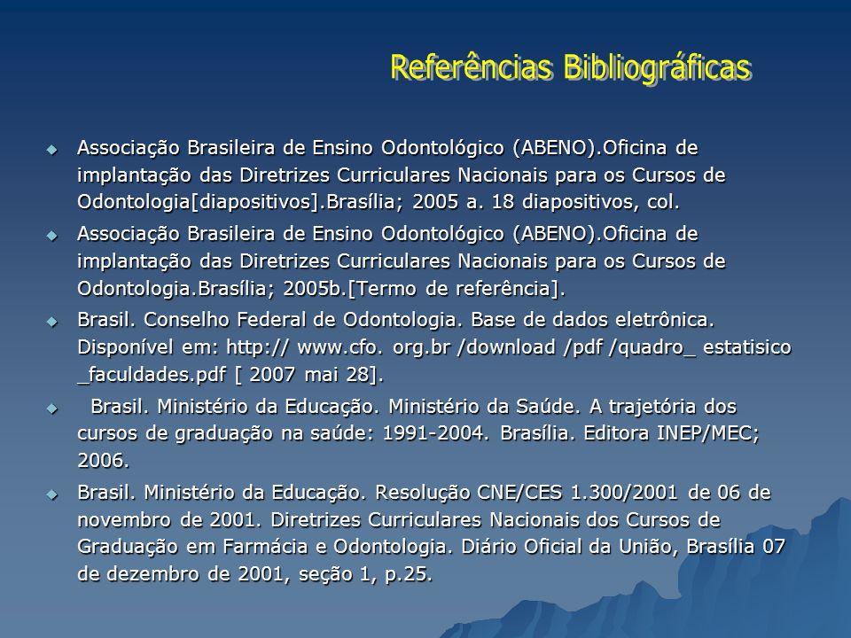 Associação Brasileira de Ensino Odontológico (ABENO).Oficina de implantação das Diretrizes Curriculares Nacionais para os Cursos de Odontologia[diapos