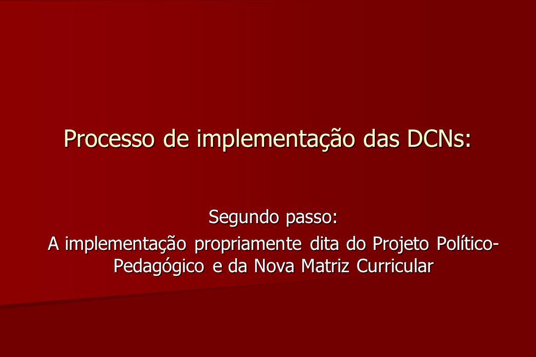 Processo de implementação das DCNs: Segundo passo: A implementação propriamente dita do Projeto Político- Pedagógico e da Nova Matriz Curricular