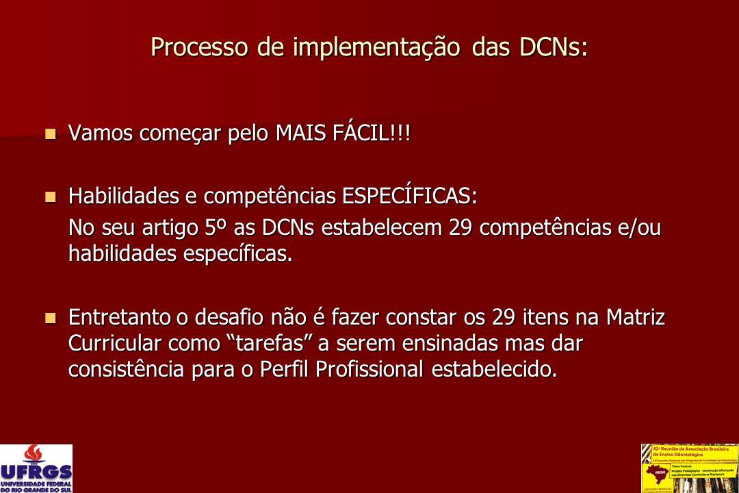 Processo de implementação das DCNs: Vamos começar pelo MAIS FÁCIL!!! Vamos começar pelo MAIS FÁCIL!!! Habilidades e competências ESPECÍFICAS: Habilida