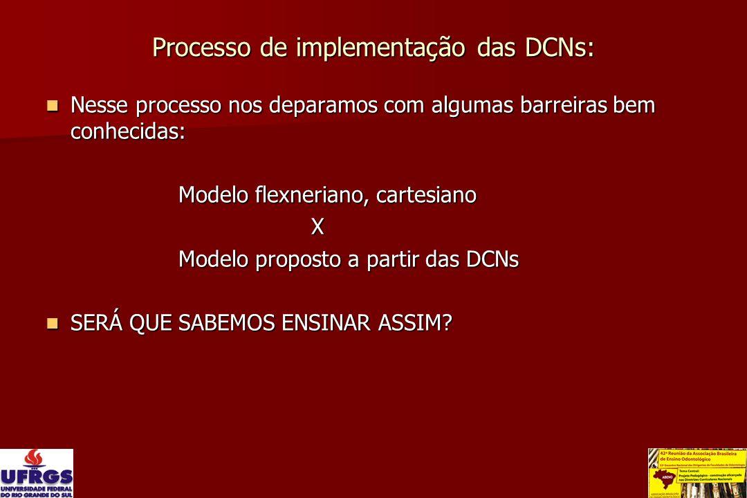 Processo de implementação das DCNs: Nesse processo nos deparamos com algumas barreiras bem conhecidas: Nesse processo nos deparamos com algumas barrei