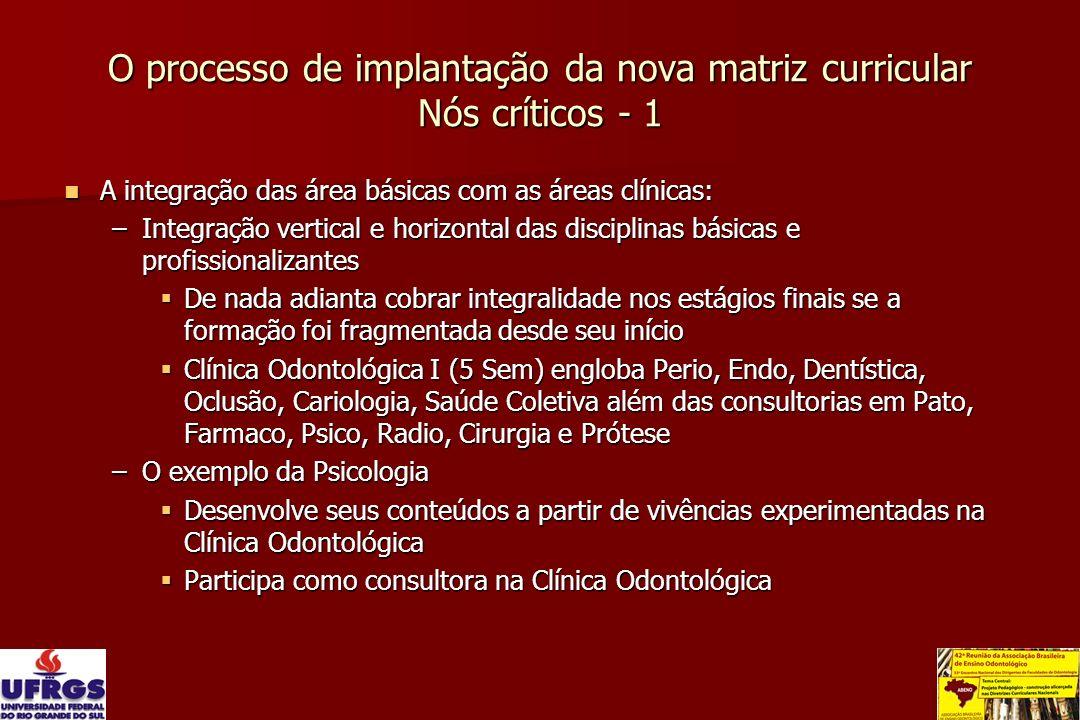 O processo de implantação da nova matriz curricular Nós críticos - 1 A integração das área básicas com as áreas clínicas: A integração das área básica