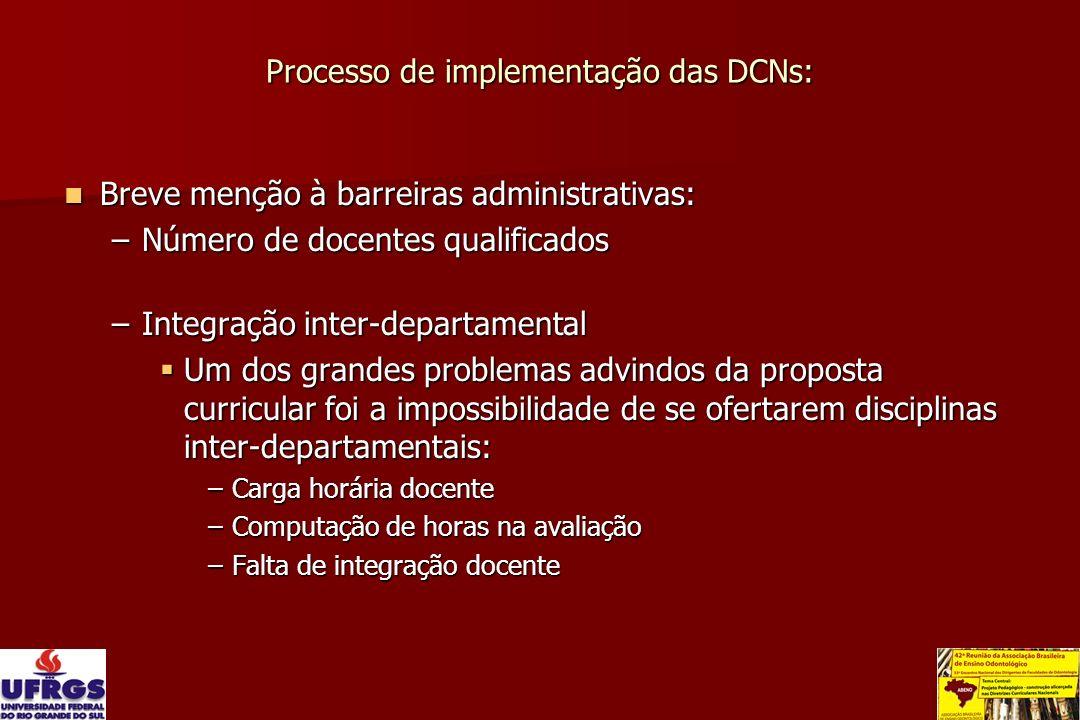 Processo de implementação das DCNs: Breve menção à barreiras administrativas: Breve menção à barreiras administrativas: –Número de docentes qualificad