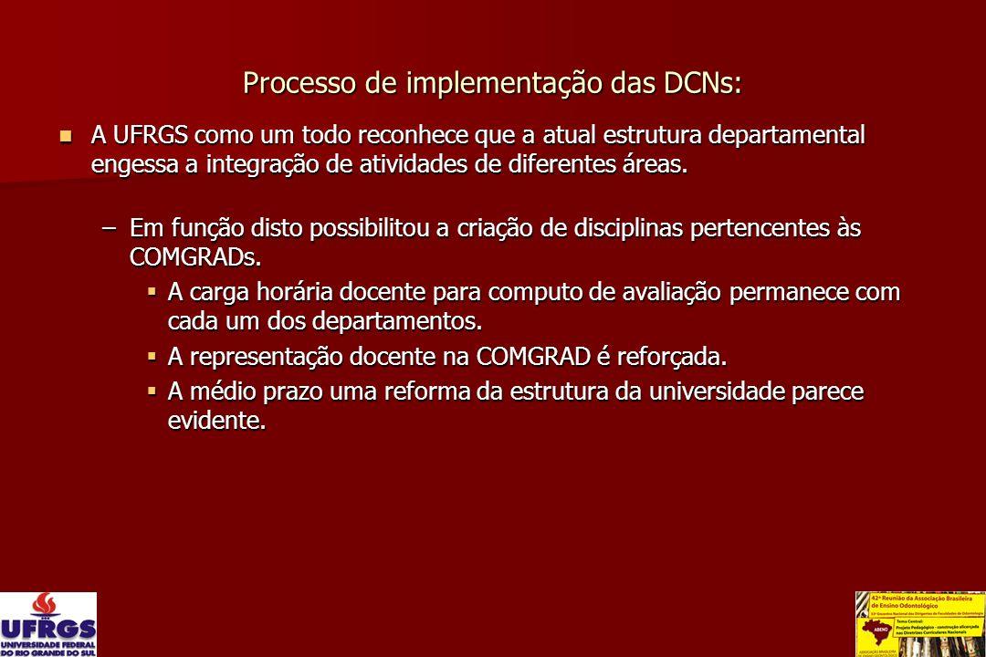 Processo de implementação das DCNs: A UFRGS como um todo reconhece que a atual estrutura departamental engessa a integração de atividades de diferente