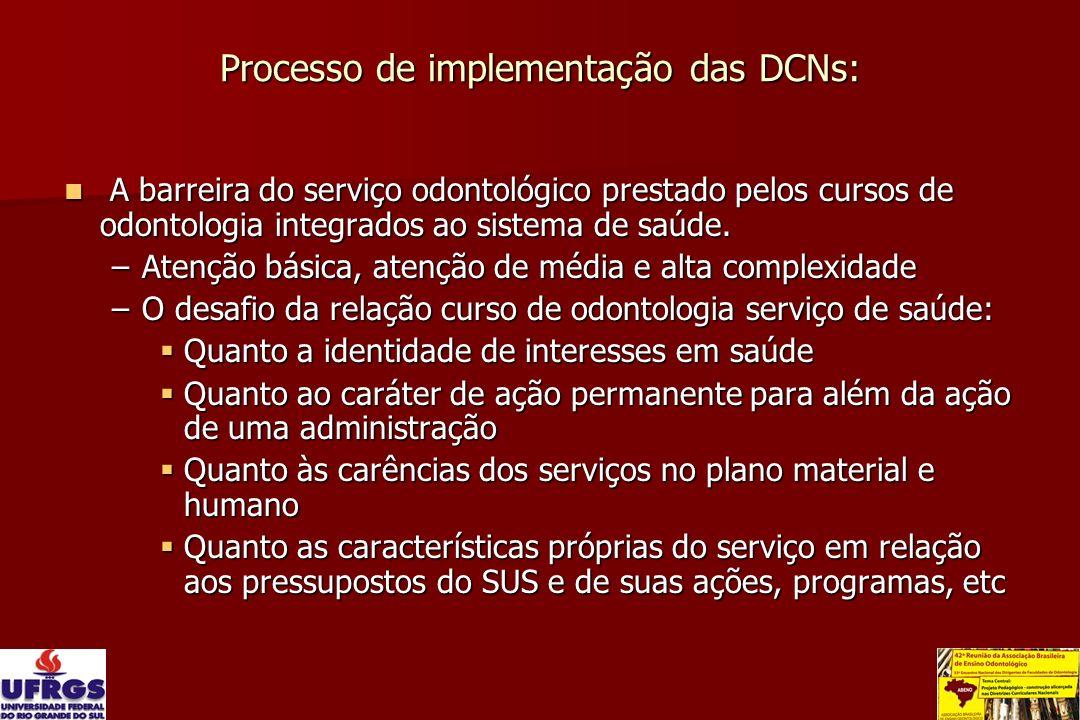 Processo de implementação das DCNs: A barreira do serviço odontológico prestado pelos cursos de odontologia integrados ao sistema de saúde. A barreira