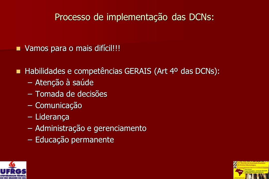 Processo de implementação das DCNs: Vamos para o mais difícil!!! Vamos para o mais difícil!!! Habilidades e competências GERAIS (Art 4º das DCNs): Hab