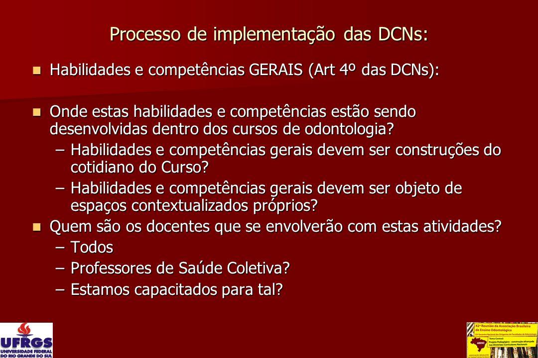 Processo de implementação das DCNs: Habilidades e competências GERAIS (Art 4º das DCNs): Habilidades e competências GERAIS (Art 4º das DCNs): Onde est