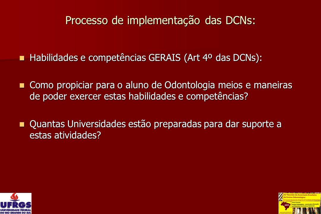 Processo de implementação das DCNs: Habilidades e competências GERAIS (Art 4º das DCNs): Habilidades e competências GERAIS (Art 4º das DCNs): Como pro